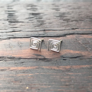 'Square Spiral Design' Sterling Silver Stud Earrings