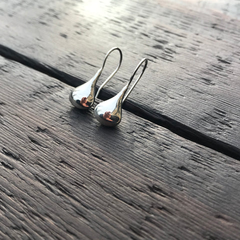 'Bare' Tear Drop Sterling Silver Earrings