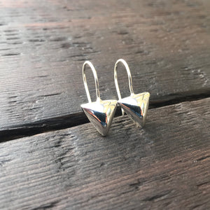 'Bare' Triangular Drop Sterling Silver Earrings