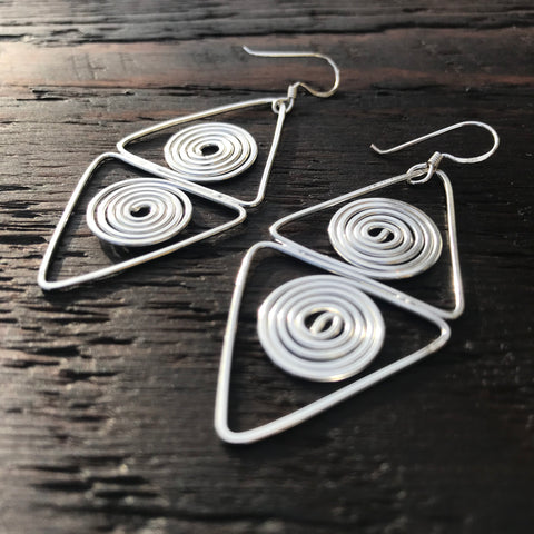'Nouveau' Sterling Silver Drop Earrings