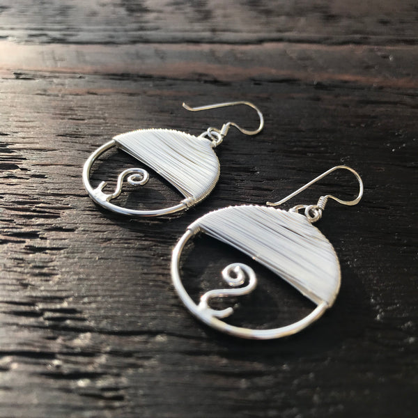 'Adorn' Round Sterling Silver Drop Earrings
