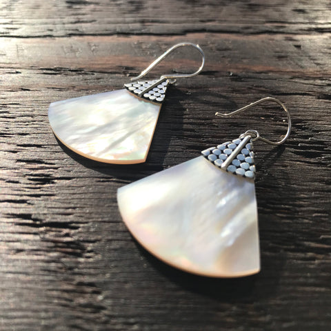 Mother Of Pearl Fan Shaped Sterling Silver Drop Earrings