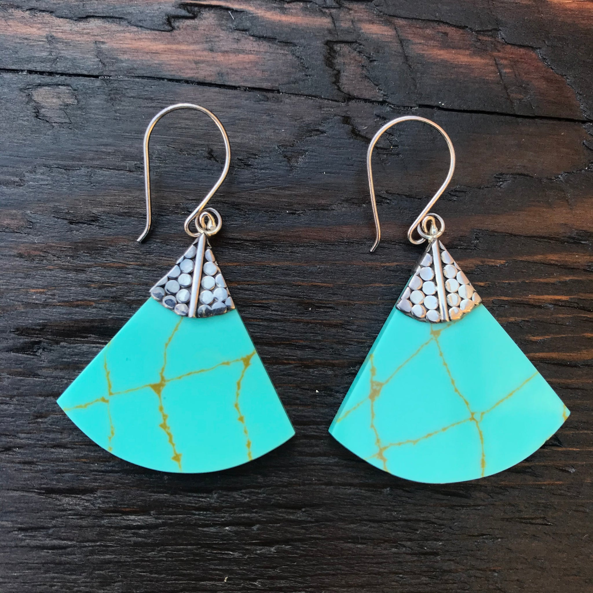 'White Isle' Green Turquoise Fan Shape Sterling Silver Drop Earrings