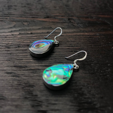 'White Isle' Abalone Tear Drop Sterling Silver Drop Earrings