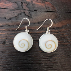 Large Round Shiva Shell & Sterling Silver Drop Earrings