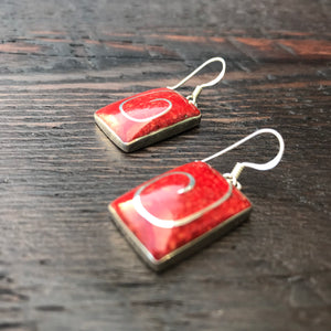 'Vitality' Red Coral Silver Inlay Rectangular Sterling Silver Drop Earrings