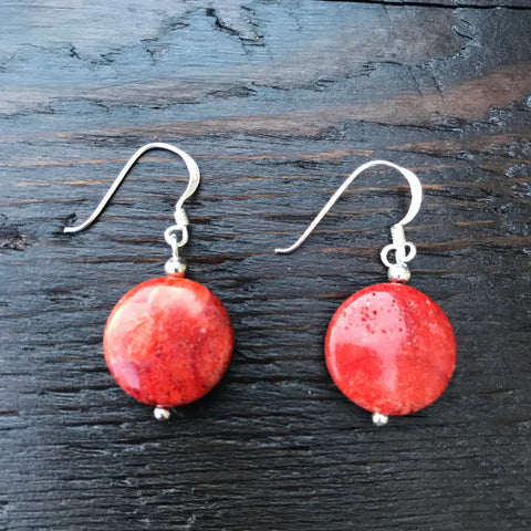 'Vitality' Red Coral Round Oriental Design Sterling Silver Drop Earrings