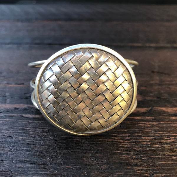 'Karen Hill Tribe' Round Weave Cuff Bangle - Pure Silver Hilltribe Bangle