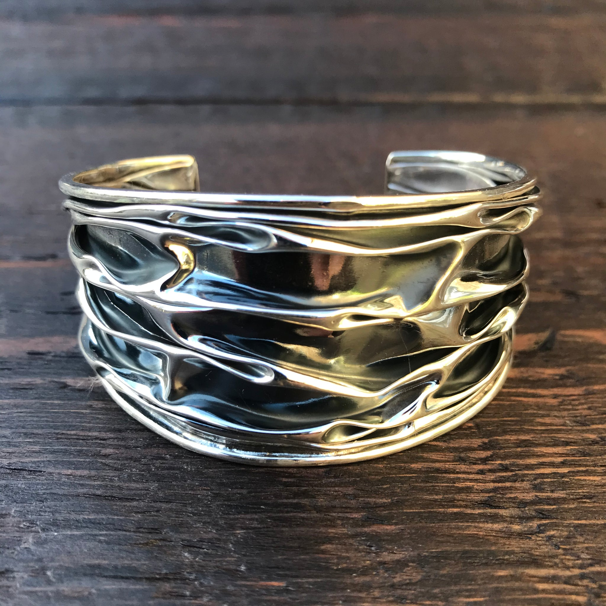 'Rocks' Wide Sterling Silver Cuff Bangle
