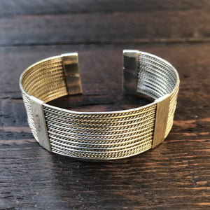 'Borobudur' Sterling Silver Strand Cuff Bangle