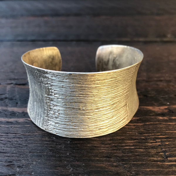 'Karen Hill Tribe' Etched Wide Cuff Bangle - Pure Silver Karen Hilltribe Bangle