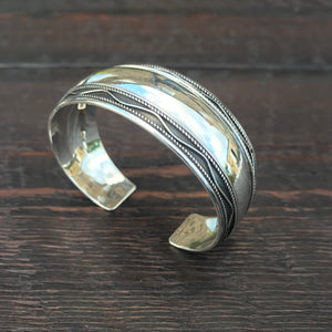 Ethnic Trim Cuff Bangle - Sterling Silver Bangle