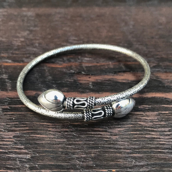 'Borobudur' Java Sterling Silver Cuff Bangle