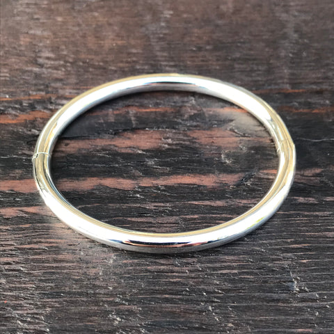 'Bare' Oval Bangle (Rounded Edges) Sterling Silver Bangle