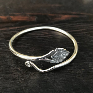 'Karen Hill Tribe' Tribal & Leaf Etched Sterling Silver Cuff Bangle