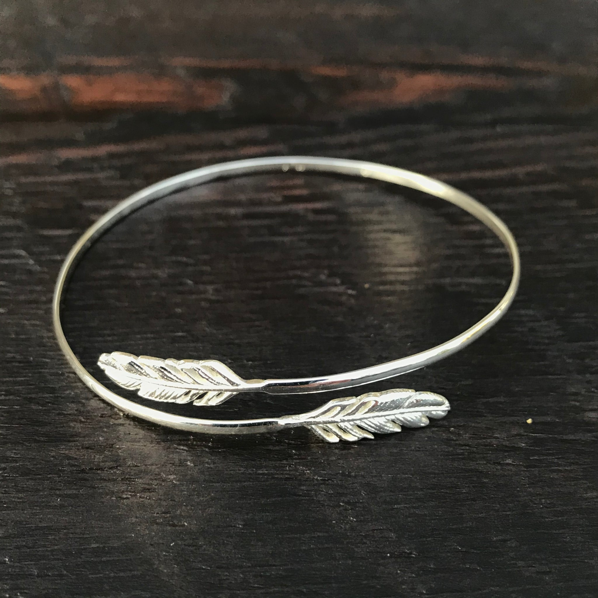 'Feather' Design Sterling Silver Cuff Bangle
