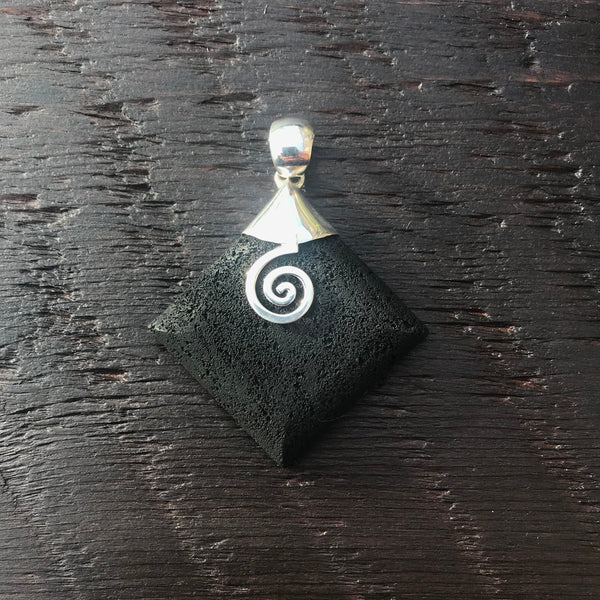 Black Lava Pendant With 925 Sterling Silver Spiral Design Embellishment