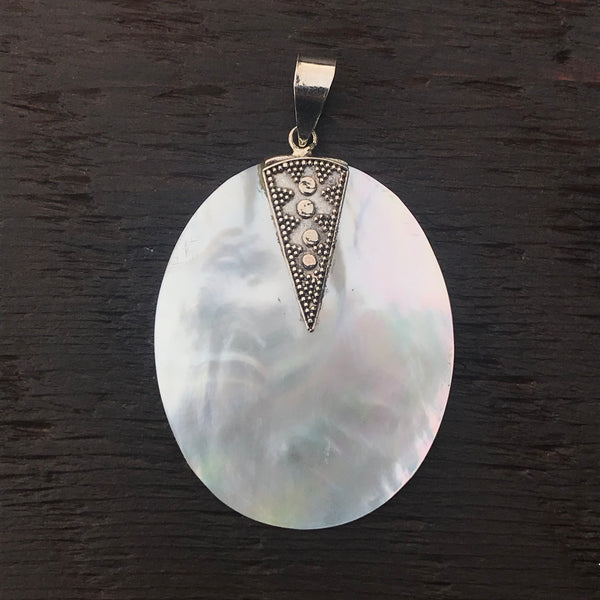 Mother of Pearl Pendant With Sterling Silver Ethnic Design Embellishment