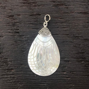 Mother of Pearl Etched Pendant With Sterling Silver Embellishment
