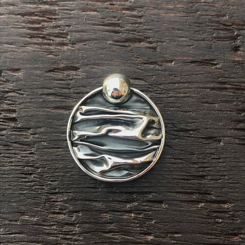 'Rocks' Round Silver Tipped 925 Sterling Silver Pendant