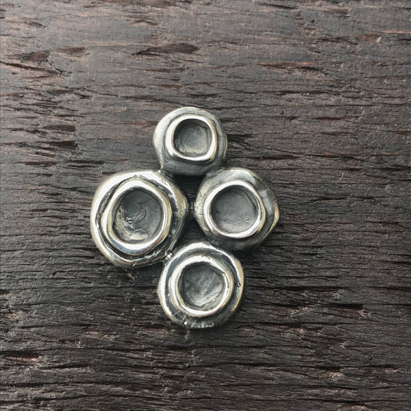 'Luna' Multi Circular Patterned Textured Sterling Silver Pendant
