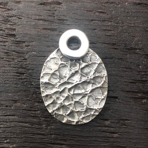 'Luna' Oval Textured Design Sterling Silver Pendant
