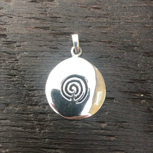 Solid Round Sterling Silver Pendant With Etched Spiral Design