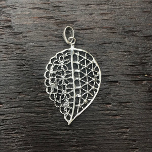 'Leaf' Filligree Vintage Effect Sterling Silver Pendant