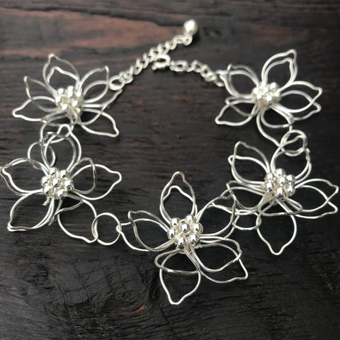 'Lotus' Flower Sterling Silver Bracelet