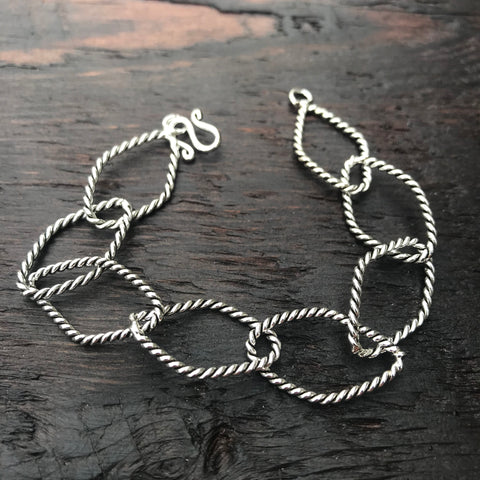 Rope Design Oxidised Sterling Silver Diamond Shaped Links Bracelet