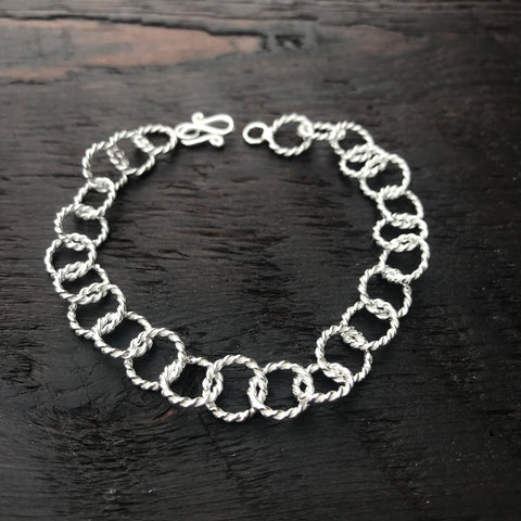 Rope Design Sterling Silver Round Links Bracelet