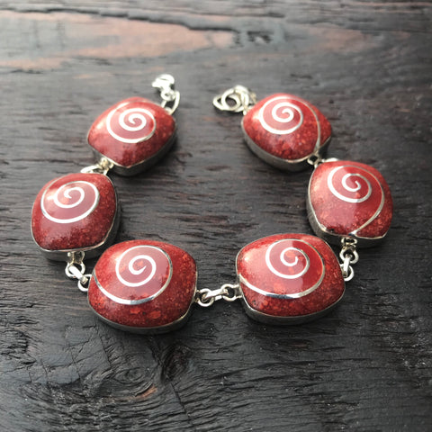 'Vitality' Red Coral Silver Spiral Inlay Abstract Square Bracelet