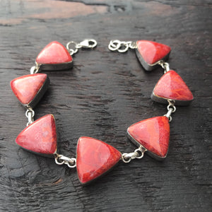 'Vitality' Red Triangular Coral Sterling Silver Bracelet