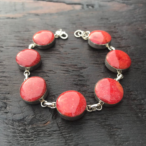 'Vitality' Red Coral Round Stones Sterling Silver Bracelet