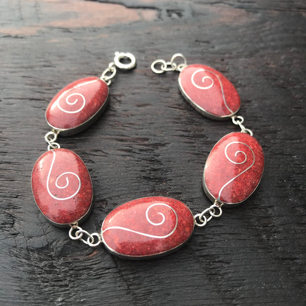 'Vitality' Red Coral Silver Spiral Inlay Rectangular Bracelet