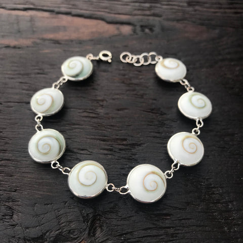 Small Round Shiva Shell Sterling Silver Bracelet