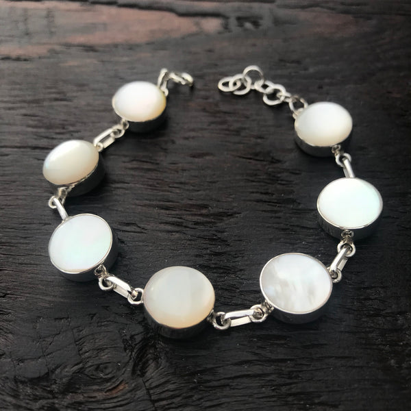 Round Mother of Pearl Sterling Silver Bracelet