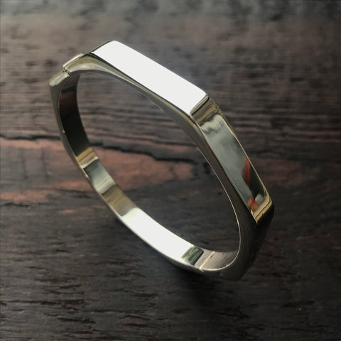 'Bare' Hexagonal Bangle - Sterling Silver Hinged Bangle