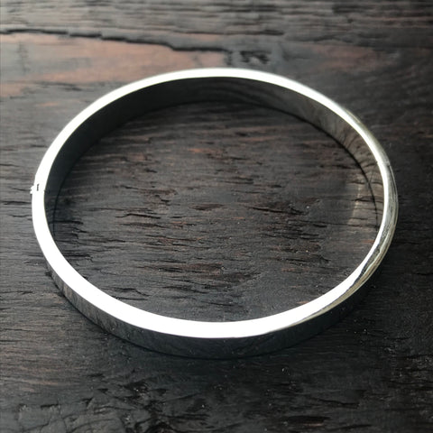 'Bare' Round Sterling Silver Hinged Locking Bangle