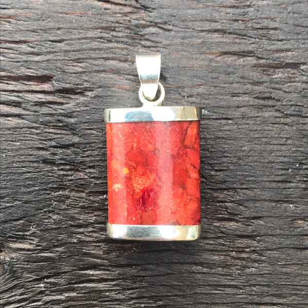 'Vitality' Red Coral Rectangular Pendant