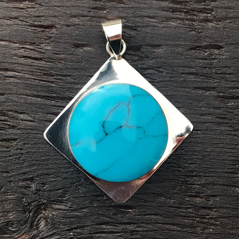 'White Isle' Blue Turquoise Stone in Sterling Silver Square Pendant