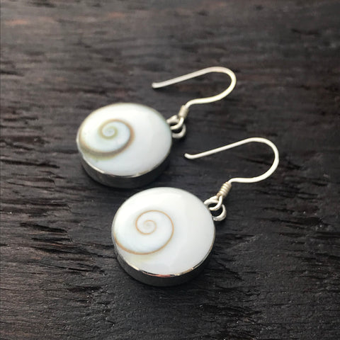 Large Round Shiva & Sterling Silver Drop Earrings