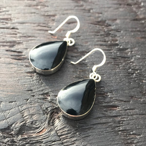 Black Onyx Tear Drop Sterling Silver Earrings