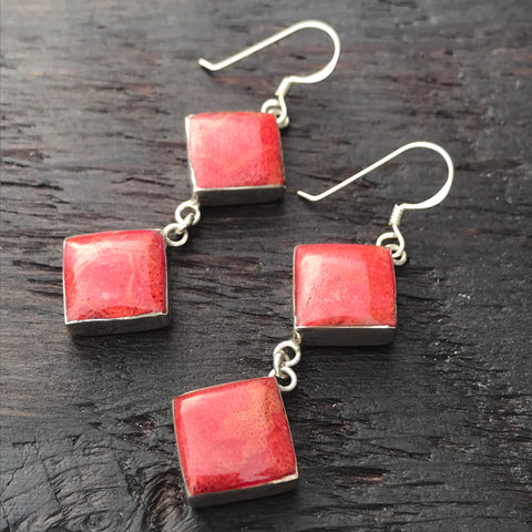 'Vitality' Red Coral Double Drop Square Sterling Silver Drop Earrings