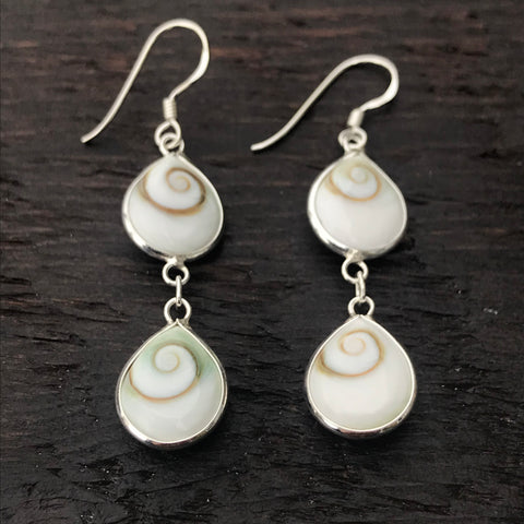 Double Drop Small Pear Shaped Shiva Shell & Sterling Silver Earrings