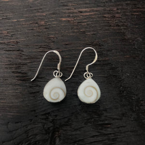 Shiva Shell Pear Sterling Silver Drop Earrings