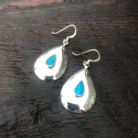 'White Isle' Blue Turquoise Domed Sterling Silver Drop Earrings