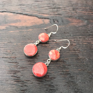 'Vitality' Red Coral Double Drop Round Sterling Silver Drop Earrings