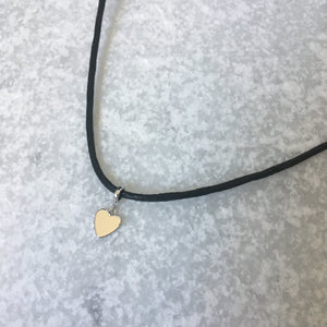 Mini Silver Heart Cord Necklace