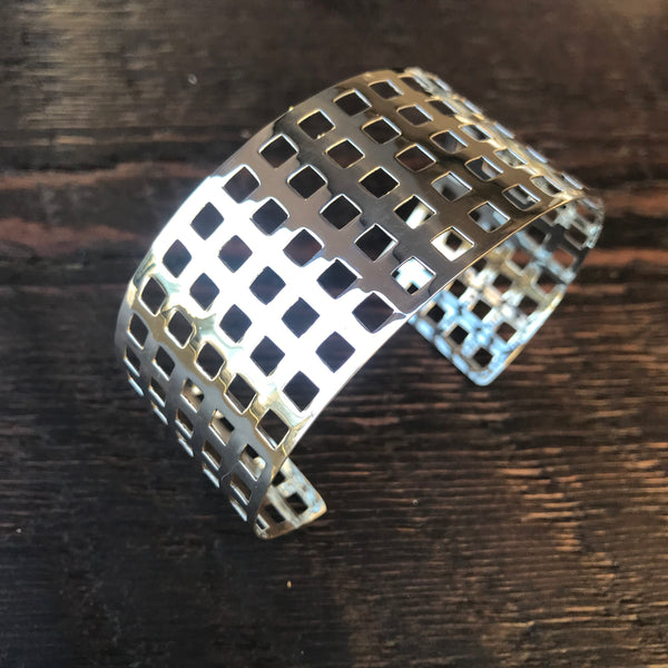 Square Cut Out Sterling Silver Bangle